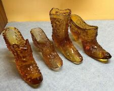 4 Vintage Amber glass Victorian Shoes & Boot, include Fenton Hobnail Cat Slipper