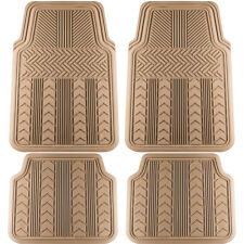Car Floor Mats for All Weather Rubber 4pc Set Tire Tread Fit Heavy Duty Beige