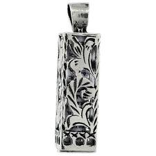 Sterling Silver Mezuzah Pendant w/ Floral Pattern Cut Outs
