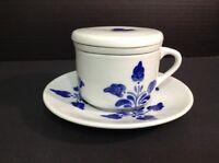 4 Pc Pottery Ceramic Tea Cup Mug Saucer Infuser Lid Signed Portugal Floral Folk