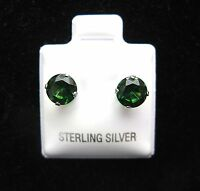 Round 6mm Emerald Cubic Zirconia May Birthstone Sterling Silver Stud Earrings
