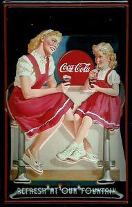 Coca Cola Our Fountain Blechschild Schild 3D geprägt gewölbt Tin Sign 20 x 30 cm