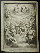 Antique print Psaume 149 Cantate Domino hallel louange d'Israël à son Dieu XVIII