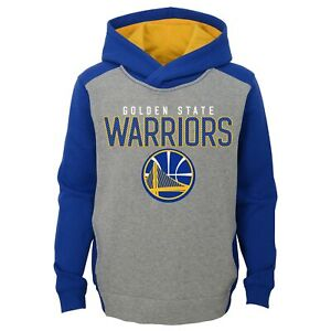 Golden State Warriors NBA Boys Youth Fadeaway Pullover Fleece Hoodie, Blue/Grey