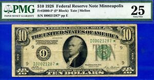 FR-2000-I* - 1928 $10 FRN (( Higly Wanted - Minneapolis STAR )) PMG 25 # 21287*-