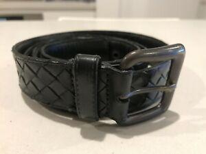Authentic Bottega Veneta Intreciato Weave Belt 110cm black