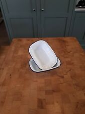 More details for two  20 cm vintage enamel oblong pie dishes plates white with blue trim