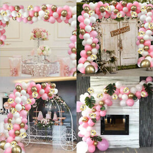 118PCS Macaron Pink Garland Arch Balloons Set Birthday Wedding Party Decoration