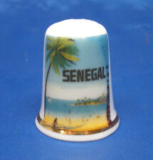 Birchcroft China Thimble - Travel Poster Series - Senegal - Free Dome Gift Box