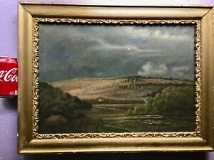 W.E. BURG great vintage oil on canvas of hills and mountain scene .