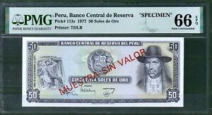 Peru 50 Soles oro Specimen P-113 1977 PMG 66 Rare