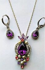 Amethyst purple February birthstone earrings and necklace jewelry gift set + box