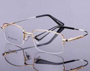 Memory Metal Half Eyeglass Frame For RX Prescription Glasses Computer Spectacles