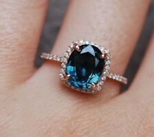 1.5ct Oval Cut London Blue Topaz Solitaire Engagement Ring 14k Rose Gold Finish