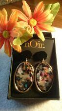 Black Post New In Box Noir Confetti Dangle Earrings Gold Tone