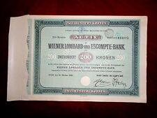 Wiener Lombard & Escompte Bank -Austria 1920 - 200 Kr, Share certificate