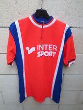 VINTAGE Maillot cycliste V.S CHALON INTER SPORT années 80 rouge red shirt 4 L