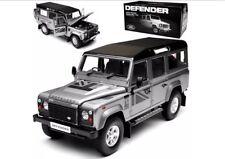 1:18 Land Rover Defender 110 Dorlop Lwb Gris Argenté Rhd Détaillé Modèle Moulé