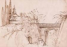 CHAPEL BRIDGE Poss ITALY Pen Drawing DOROTHY KIRKBRIDE c1970