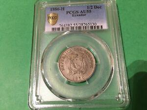 ECUADOR  1/2  DECIMO 1886  KM # 49   PCGS  AU55.