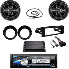 Bluetooth USB JVC Radio, Harley FLHT Dash Install Kit, Amp, Antenna, Speaker Set