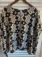 Diane von Furstenberg Black Gorgeous Oversize Poncho Top Blouse Silk M Top