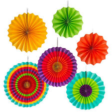 Rainbow Paper Fans Party Decorations Mexican Fiesta Hanging Decor BM