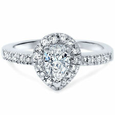 Pear Solitaire with Accents Fine Diamond Rings