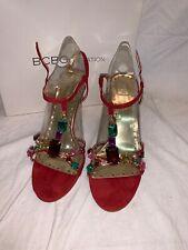 BCBG Generation BG -Lisa Jeweled Oxblood Red Gold High Heels Strappy - Size 8M
