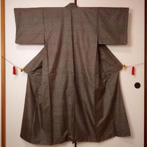 【KIMONO】JAPANESE VINTAGE KIMONO, OSHIMA TSUMUGI, Made in Japan.(着027)
