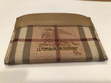 Burberry Men's Brit Print Check Tan Brown Leather Card Case Wallet