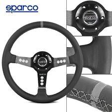 Deep Dish 340MM Sparco Black/Grey Leather Sport Racing Steering Wheel w Horn