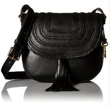Fossil Ladies Emi Black Tassel Leather Saddlebag Crossbody Bag  ZB6849001