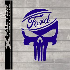 Ford Punisher skull dicut vinyl decal f150 powerstroke mustang 15 COLORS 4 SIZES