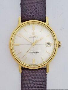 18k Gold Omega Automatic Seamaster DeVille Mens Wrist Watch 166.020.SC 24 Jewels