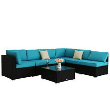 7pcs Outdoor Patio Sofa and Table Set Sectional Garden Furniture w/Blue Cushions