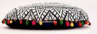 "B&W Large Indian Round Floor Pillows Mandala Decor Meditation Cushion Cover 32"""