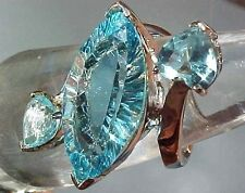 GORGEOUS 13 CTTW Marquise & Heart Cut Sky Blue Topaz Sterling Silver Ring Sz 8!