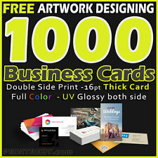 Business card printing services ebay 1000 business cards full color 2 side printing uv coated free designing shipping reheart Gallery