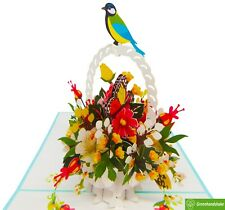 Flower bouquet with bird, 3D Popup Greeting Cards for all occasion