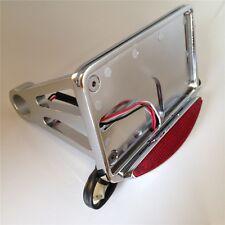 New Side Mounted License Plate Assembly Chrome Led Tail Brake Light Chromed