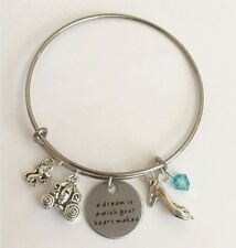 Cinderella Bangle A dream is a wish your heart makes Charm Silver Plated USA