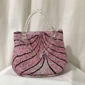 Italian Art Glass Murano Style Vincenza Style Pink Stripe Glass Handbag VGC - 7
