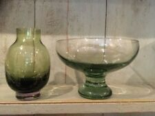 Glass Fruit Bowl Green With Foot Hand Blown Round & Green Vase