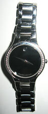 MOVADO SERIO DIAMOND ACCENTUATED WATCH MUSEUM BLACK DIAL SAPPHIRE CRYSTAL 26mm