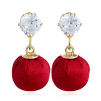 Fashion Women Crystal Rhinestone Ear Stud Long Round Ball Dangle Drop Earrings