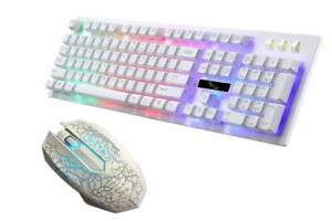 Gaming Keyboard Mouse Backlit Rainbow LED USB Set for PC Laptop PS4 Xbox One