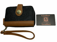 Stone Mountain Womens Leather Wallet Black & Brown Bi-fold Zippered Wrist Strap