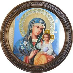 New Wooden Carved Plates Wall Plate Icon Mother of God Handmade Multi-Color