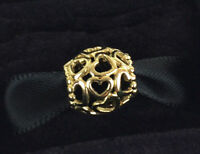 Genuine PANDORA Open Your Heart Silver Charm 14K Gold Plated 790964